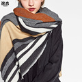 YI LIAN Brand ZA Vertical Stripes Scarf Hot Sale Top Quality Fashion Lady's Winter Scarves Classic Oversize Cotton Shawl XHY003