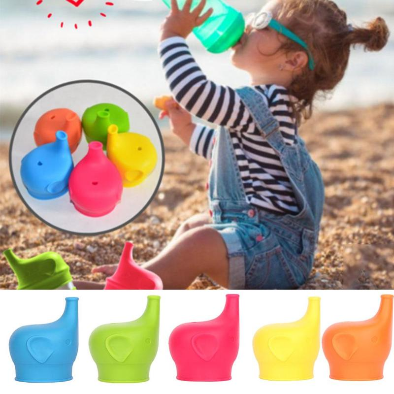 Soft Water Bottle Mouth Cup Drink Bottle Spill-proof Caps Soft Silicone Elephant Shape Suction Nozzle Bottle Cover High Quality