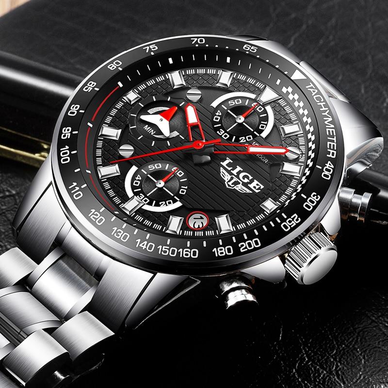 LIGE Mens Watches Top Brand Luxury Fashion Business Quartz Watch Men Sport Full Steel Waterproof Wristwatch Relogio Masculino