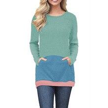 цены women sweatshirt color block long sleeve 2019 casual hoodies slim patchwork female sweatshirts gothic hoodie pullover autumn