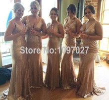 Sexy Deep V Neck Floor Length Long Gold Sequin Bridesmaid Dresses Mermaid Cheap Party Dresses From China MG156
