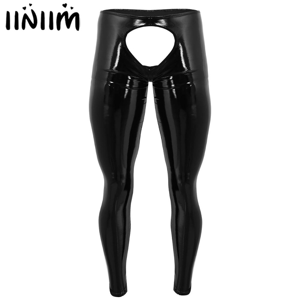 Mens Lingerie Shiny Patent Leather Open Back and Open Pouch Sissy Tight Pants Leggings Trousers Gay Man Nightclub Underwear