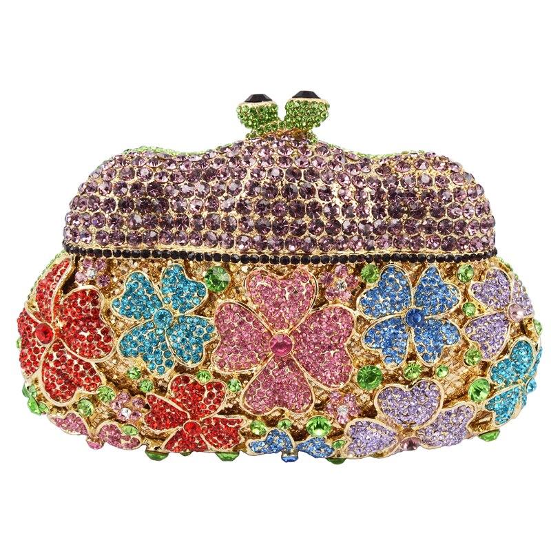 LaiSC new designer evening bags Golden Unique women clutch bag Hollow Out party purse luxury crystal ladies dinner handbag SC152
