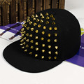 Free Shipping Korean fashion new men's flat along gold and sliver rivet Cap Hat hip hop baseball cap factory outlet wholesales