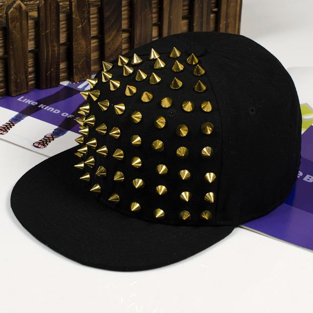 d9bb9c0fc0c Free Shipping Korean fashion new men s flat along gold and sliver rivet Cap  Hat hip hop