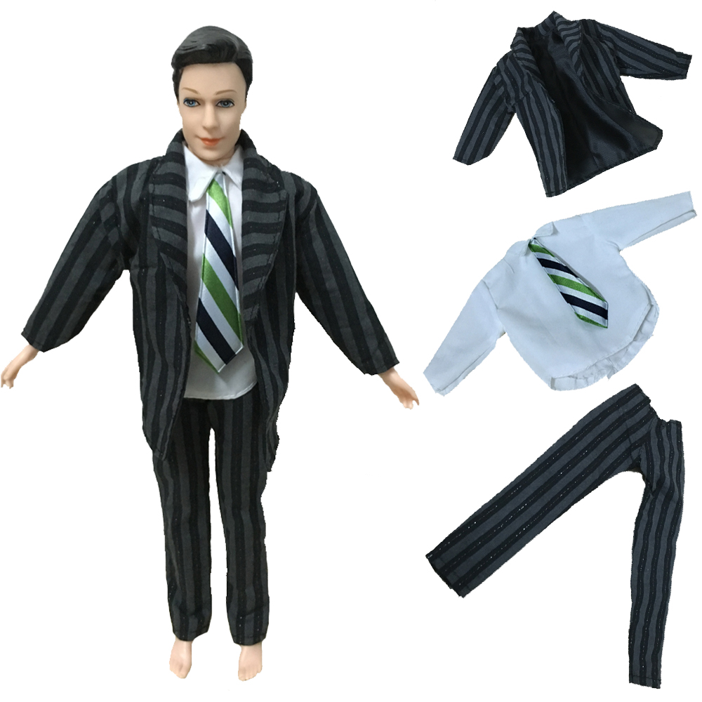 Trend Handmade Formal Bussiness Swimsuit Black Coat Tuxedo Garments for Barbie Ken Doll