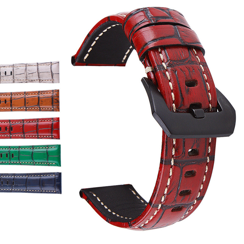 Colorful Genuine Cow Leather Stripe Watchband Watch Strap Band For Panerai Watch <font><b>PAM</b></font> <font><b>Bracelet</b></font> 20 22 24 26mm PAM688 728 441 359 image