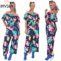 IMYSEN Summer Autumn Print Jumpsuits Women Romper Off Shoulder Fashion Loose Rompers New Arrival One Piece