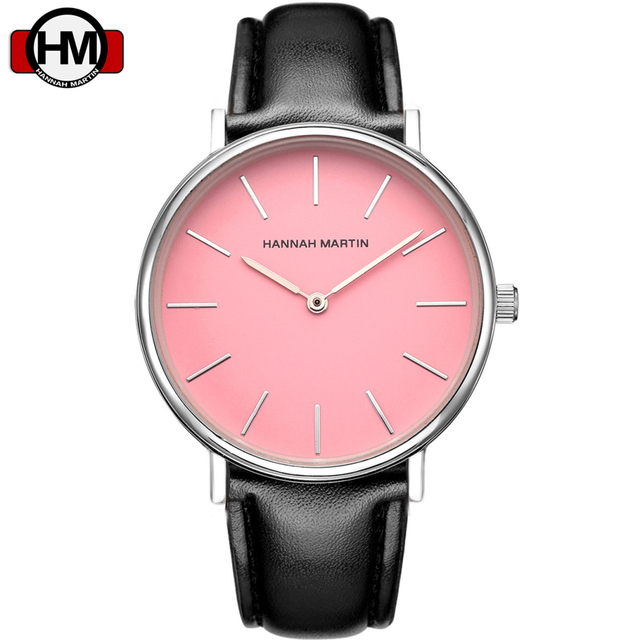 Hannah Martin Pink Dial Design Quartz Watch Women Brand Leather Fashion Casual W