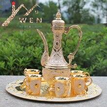 Freies verschiffen gold farbe metall wein/tee-set, fashion zink-legierung wein set, 1 satz = 1 + 1 topf + 6 tassen