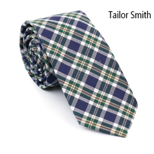 Tailor Smith Fashion Tartan Palid 100% Cotton Ties Mens Casual Designer Check Party Necktie Cravate Green Blue Color Top Quality