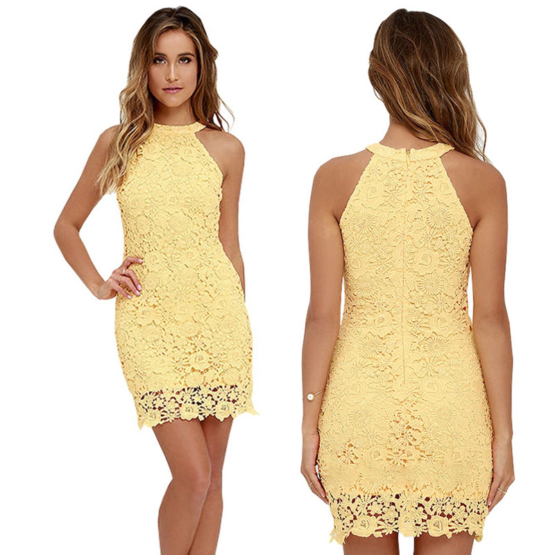 Gold Hands Womens Elegant Wedding Party Sexy Night Club Halter Neck Desses Sleeveless Sheath Bodycon Yellow Lace Dress Short