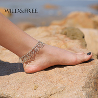 Vintage Bohemia Antique Silver Tassel Anklet For Leg Cheville Barefoot Sandals Pulseras Tobilleras Mujer Foot Jewelry