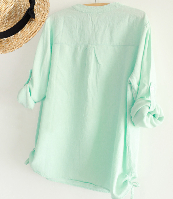 e663482a46068 ... 2015 Autumn Women White Mint Green V-neck Cotton Long Sleeve Shirt Tops  Students Korean ...