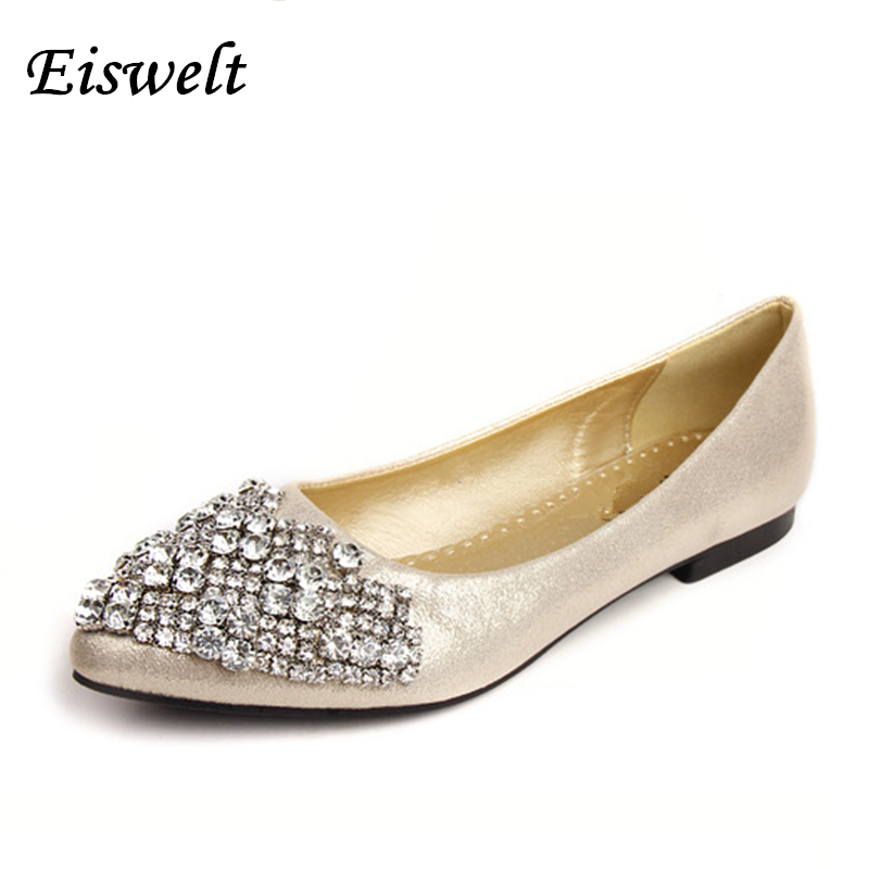 NEW Fashion 2017 Flats Shoes Women Ballet Princess Shoes For Casual Crystal Boat Shoes Rhinestone Women Flats PLUS Size#SJL272 fashion pointed toe women shoes solid patent pu brand shoes women flats summer style ballet princess shoes for casual crystal