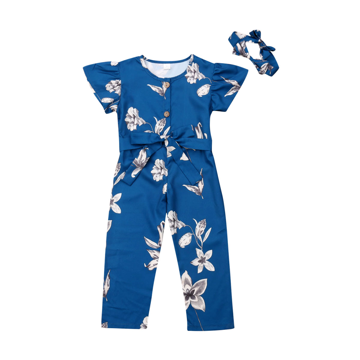 2-9Years Toddler Kid Baby Girl Clothes Ruffle Sleeve Floral Romper Jumpsuit Long Trousers Playsuit Overalls Outfit Clothing