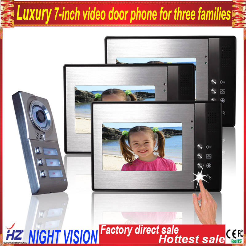 Saful 7TFT-LCD video door intercom system for 3 apartments free disturb with night vision monitor doorbell 7tft lcd free disturb wired audio video door intercom system with night vision monitor doorbell for 10 apartments of 1 building