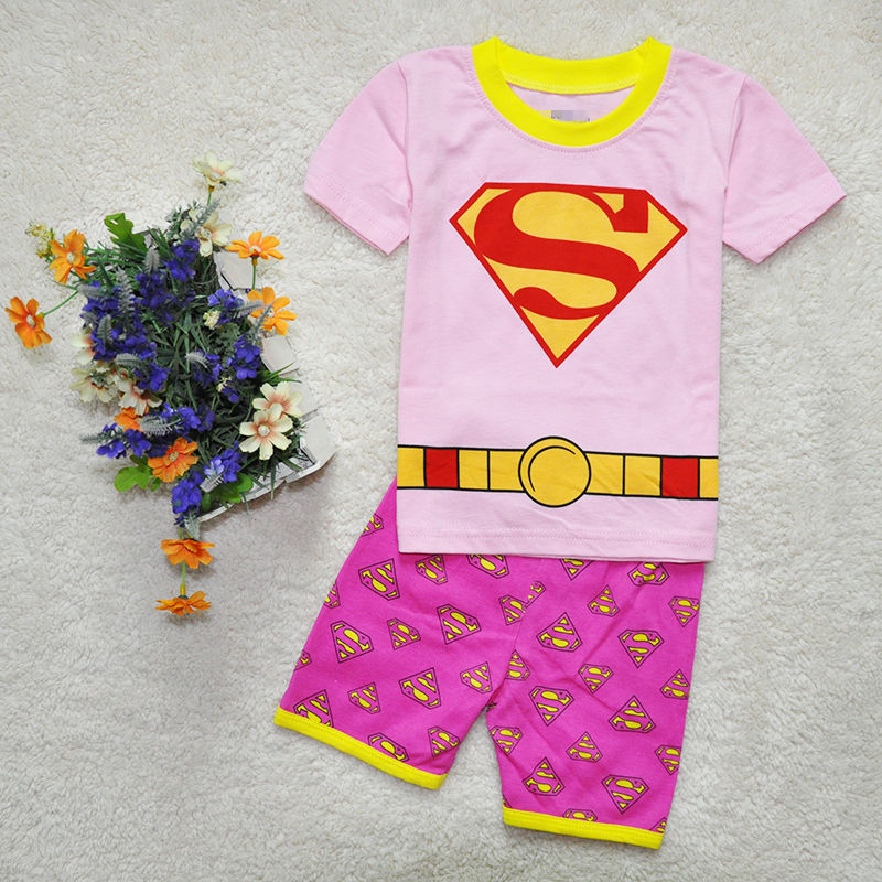 Kids Girls Cosplay Costume Superhero Fancy Dress Superman Pajamas Halloween Party Costumes Clothing  Short sleeve+Pants 2pcs/set