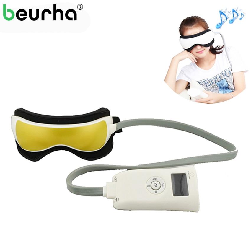 Beurha Air Pressure Eye Massager Glasses Music Wireless Eye Instrument Rubing Vibration Infrared Heater Eye Protection Device ...