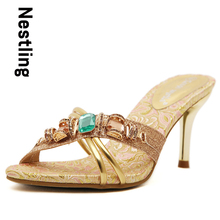 New 2016 Summer Fashion High Quality Women Sandals Sexy Open Toe Rhinestone Bling High Heels Party Shoes Woman Slides D50