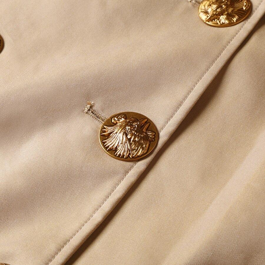 Elegante Otoño Trench Abrigo Caqui Vintage Marca Británico Clásica Alta Diseño Mujer Invierno Largo Para Nuevo 2018 De Calidad 7xq4SSw