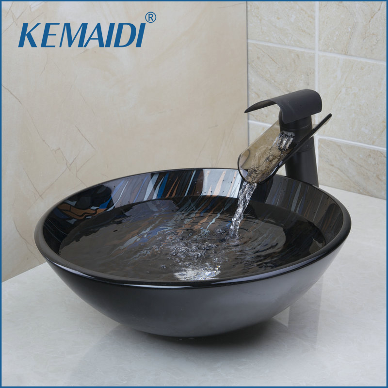 KEMAIDI Hand Paint Vessel Washbasin Tempered Glass Basin Sink With Waterfall Faucet Taps,Water Drain Bathroom Sink SetKEMAIDI Hand Paint Vessel Washbasin Tempered Glass Basin Sink With Waterfall Faucet Taps,Water Drain Bathroom Sink Set
