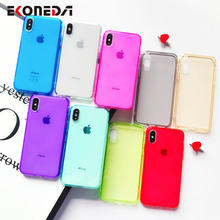 EKONEDA Candy Color Clear Case For iPhone 7 Silicone Cover X 11Pro Max XR XS 6S 8 Plus 11