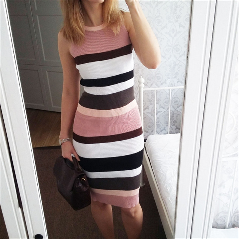 ALPHALMODA Horizontal Striped Hit Color Ladies Casual Summer Knit Tank Dress Pullovers Stretchy Slim Ladies Mid-calf Vestidos 2