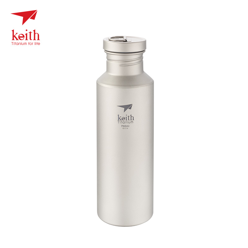 Keith Titanium Bottle Lightweight Camping Cycling Hiking Picnic Sport Ti3032 Water Bottle Bacteriostatic Function 700ml 113g keith ti1600 lightweight titanium hanging chains diy 100pcs accessories