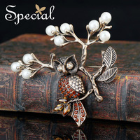 Special Brand Gold Brooches AAA Zirconia Vintage Owl Brooch Pins Luxurious Pearls Birds Jewelry Gifts for Bouquet Women S1601B