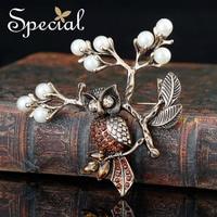 Speciale Marca Spille D'oro AAA Zirconia Vintage Gufo Pin Spilla di Perle di Lusso Uccelli Gioielli Regali per Bouquet Donne S1601B