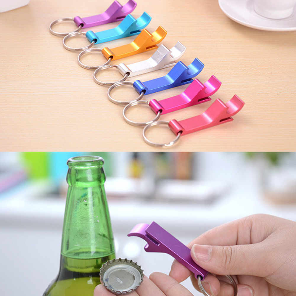 Beer Bottle Opener Keychain 4 in 1 Pocket Aluminum Beer Bottle Opener can 8 Colors Wedding Unique Creative Gift