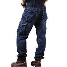 Мужские свободные джинсы, прямые брюки карго, повседневные хлопковые мешковатые комбинезоны, мужские Модные сезонные мужские штаны, плюс размер 44 46, одежда