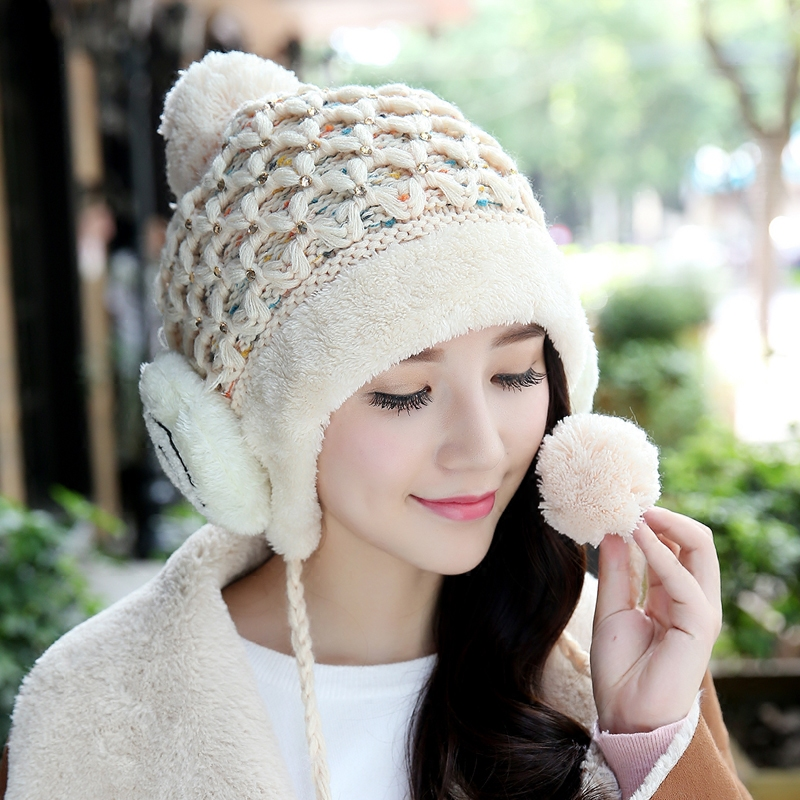 Hot Winter Women's Cute Skullies Toboggans Beanies Ushanka Earflaps Female Gorro Warm Thick Soft Nap Poms Smiley Knitted Hats skullies