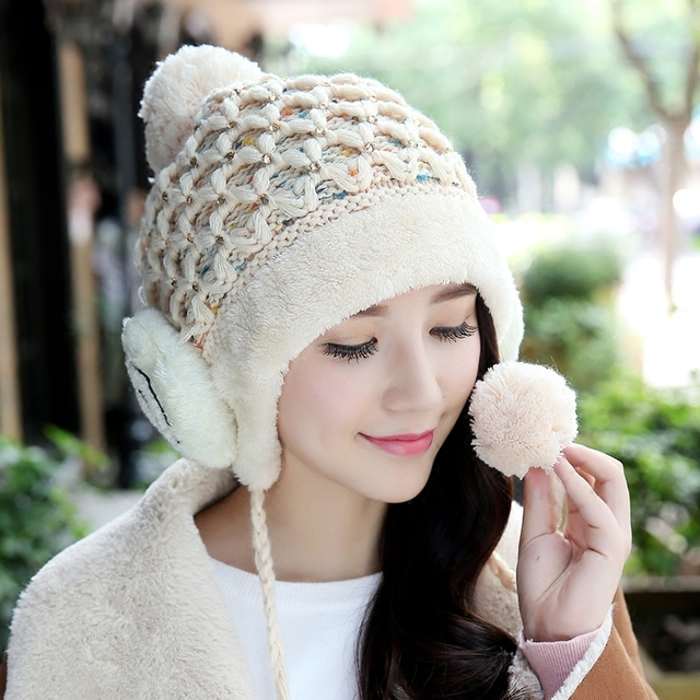 d8ca8ba428b Hot Winter Women s Cute Skullies Toboggans Beanies Ushanka Earflaps Female  Gorro Warm Thick Soft Nap Poms