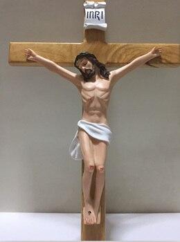 Catedral crucifijo de madera maciza crucifijo adornos decoraciones Jesús Cruz artesanías Cordero de Dios figura Iesus figuras de madera 53,8 cm