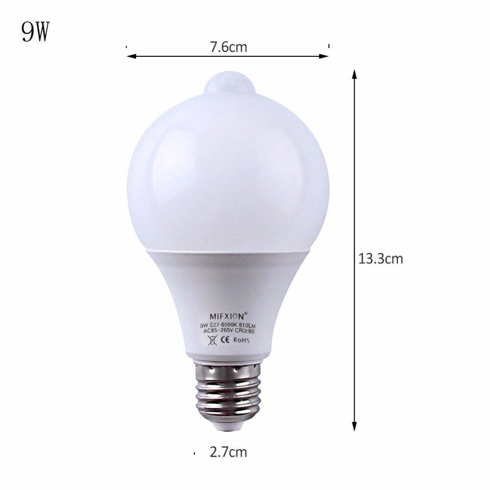 10 шт. Светодиодная лампа с датчиком движения PIR светодиодная лампа 7 Вт 9 Вт Авто умная светодиодная Инфракрасная Лампа PIR + свет E27 датчик движ... - 6