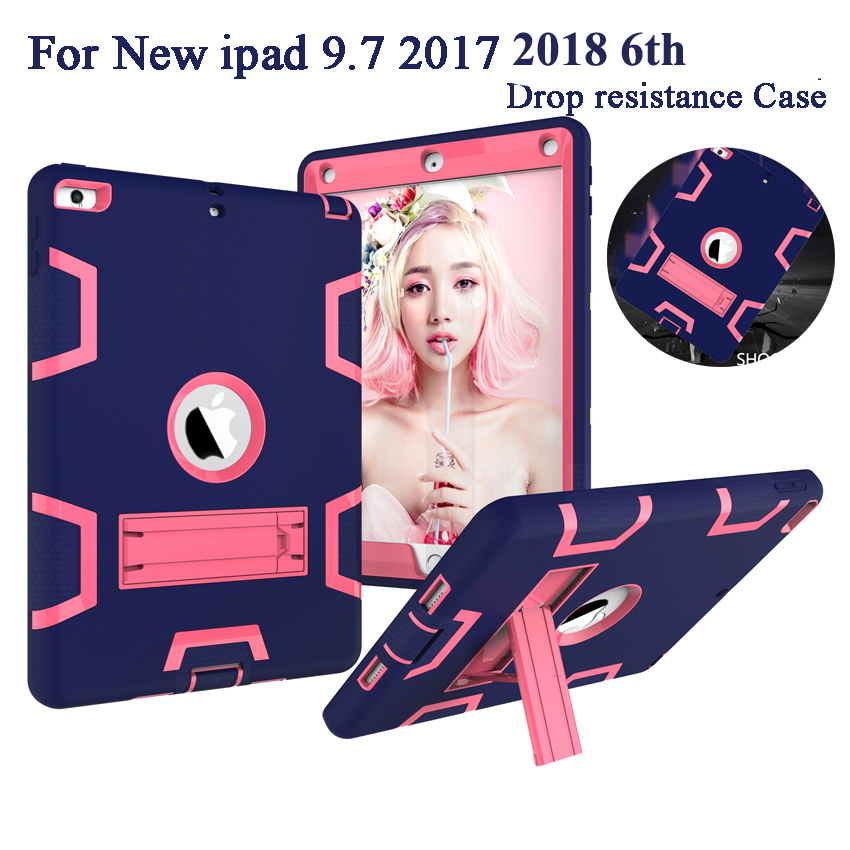 Shockproof Heavy Duty Case For iPad 9.7 2018 6th Generation Cover Kids Safe Armor Silicon PC Back Fundas For ipad 9.7 2017 + Pen for ipad air 2 heavy duty 9 7 fundas shockproof armor hydrid case back cover for ipad air 2 360 degree protective shell stand