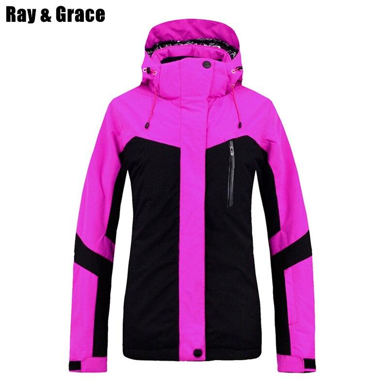 RAY GRACE Professional зимняя куртка спортивная одежда для женщин Лыжный спорт и куртка для сноуборда непромокаемые ветрозащитные пальто