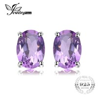 Natural High Quality 1 4ct Amethyst Earrings Oval Cut Solid 925 Sterling Silver Studs For Women