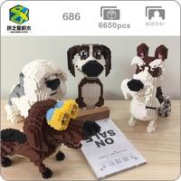 2019 Beagle Hound Schnauzer Dachshund Sheepdog Dog Pet 3D Animal Model Diamond Mini Building DIY Nano Blocks Toy Gift Collection