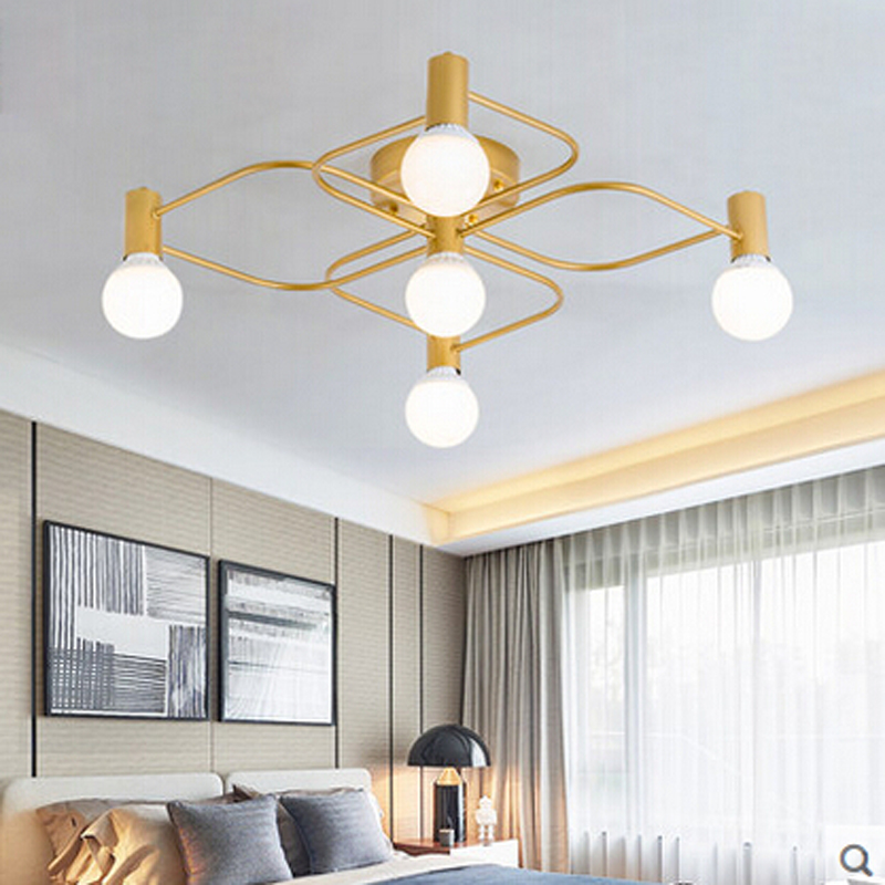 Z Europe Du Nord grand salon led Bronze plafond lampe moderne simple