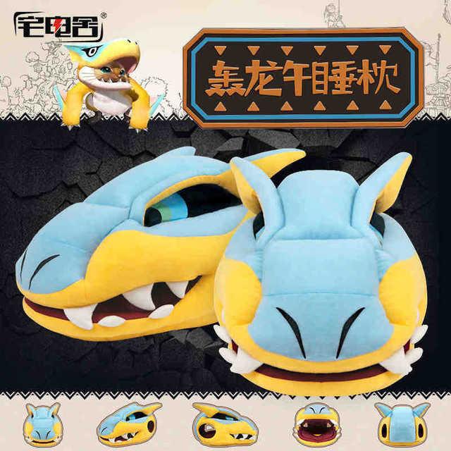 Monster Hunter Huge dragon head Pillow Plush Stuffed Toy 41CM monster naps velveteen