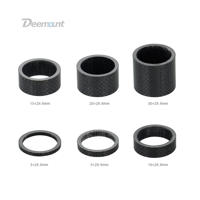 Deemount Glossy Cycle Headset Spacers Carbon Fiber Washers 3/5/10/15/20/30mm Rings For 28.6mm 1 1/8