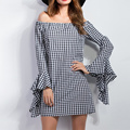 2016 Women Elegant Autumn Shirt Dress Off Should Tube Plaid Black Lotus Cuff Dresses Party Sexy Casual Vestidos Winter Female
