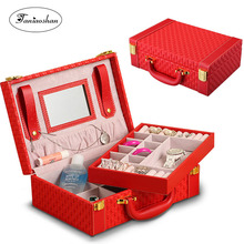 2014 High-Quality jewelry box fashion princess dressing leather with lock European large capacity double