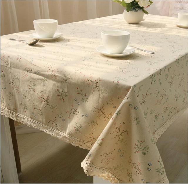 Lino Tovaglie Di Cotone Per Tavoli Bianco Pizzo Floreale Stampato