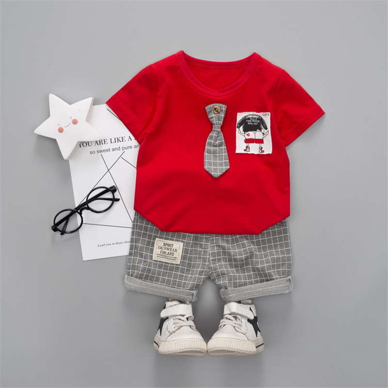 baby girl clothers sets summer cotton Suit tie cartoon pattern short sleeve shirt tops+plaid pants 1-4 y childrens boy clothes