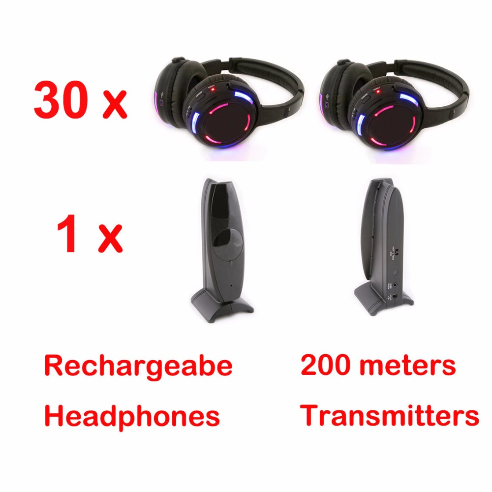 Silent Disco 3 canali 30 LED Cuffie con 1 trasmettitore di RF Wireless Per iPod MP3 DJ Music