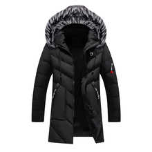 Loldeal Men's Fashion Winter Long Thick Puffer Jacket Coat Silm Fit with Hood color block detachable hood puffer jacket